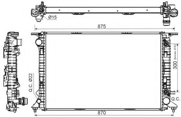 Радіатор охолодження (AT) AUDI Q5 3.0D 11.08- NRF 53116