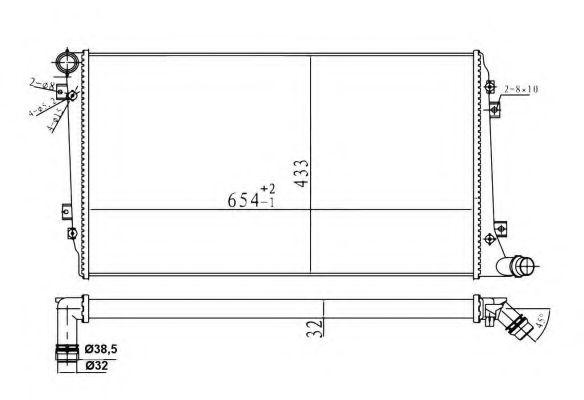 Радіатор охолодж. двигуна VAG 1.9D/2.0D 05.03- NRF 53814A