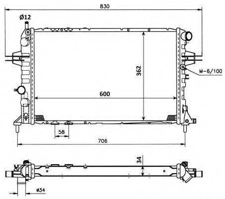 Радиатор охлаждения двигателя NRF 53898
