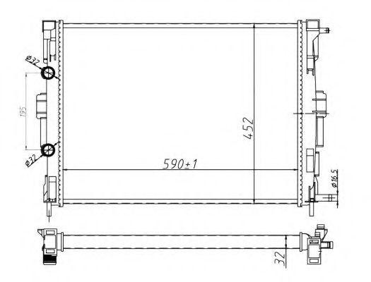 Радіатор охолодження Renault Megane II 2.0/1.5 dCi 02- (+AC)/Scenic II 03- (+/-AC)  NRF 58329A