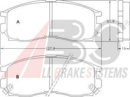 Гальмівні колодки передні Mitsubishi Colt IV, Eclipse, Galant IV,V,VI, Lancer IV,V 1.6-2.5 91-  ABS 36763