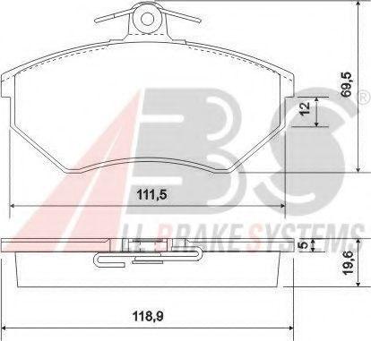 Колодка торм. AUDI/SEAT/VW AUDI/SEAT/VW передн. (пр-во ABS)                                          ABS 36789