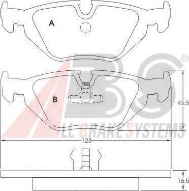 Колодка торм. BMW 3/5/7ser. задн. (пр-во ABS)                                                         арт. 36824