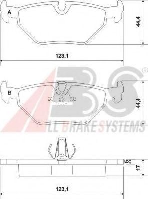 Гальмівні колодки дискові зад. Bmw E39 520-535 96-  ABS 36908