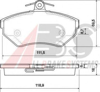 Гальмівні колодки дискові перед. VW Golf/Vento 1.4-1.9D 91-97/Polo ABS 37011