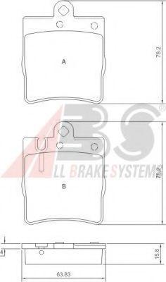 Колодка торм. MB C/CLK/E W203/209/210 задн. (пр-во ABS)                                              REMSA арт. 37022
