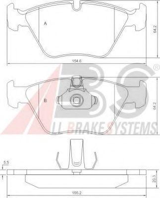 Гальмівні колодки дискові перед. BMW 5 (E39) 2.0D-3.5 11.95-05.04 ABS 37036