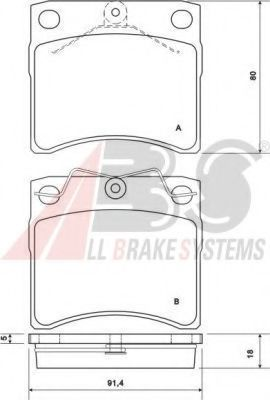 Колодка торм. VW T4 (вент.) передн. (пр-во ABS)                                                      ABS арт. 37099