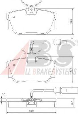 Гальмівні колодки дискові зад. (з датчиком) VAG T4 97- ABS 37110