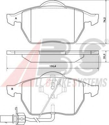 Колодка торм. AUDI/VW A6/PASSAT передн. (пр-во ABS)                                                  ABS 37156