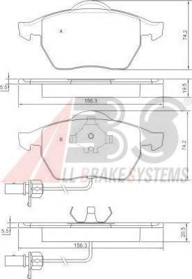 (1 датчик) Гальмівні колодки дискові перед. Audi A6 1.8-2.8 97- VW Passat Skoda ABS 37239