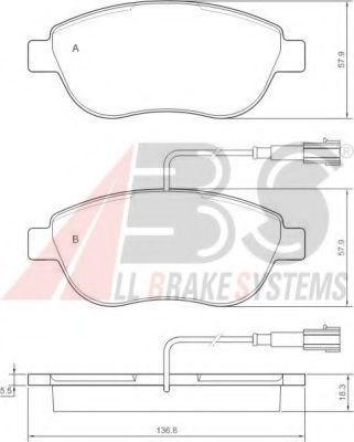 Колодка торм. FIAT STILO передн. (пр-во ABS)                                                          арт. 37282