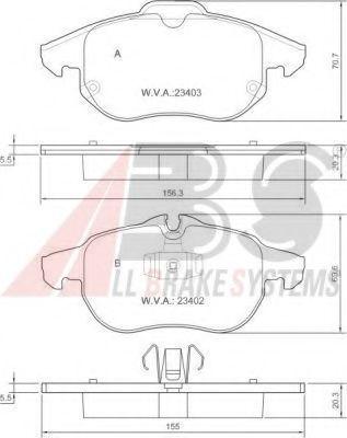 Колодка торм. FIAT/OPEL/SAAB CROMA/VECTRA C/SIGNUM/9-3 передн. (пр-во ABS)                            арт. 37300