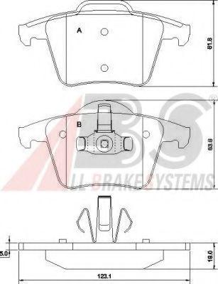 Гальмiвнi колодки дискові зад. Volvo XC 90 02-> ABS 37343