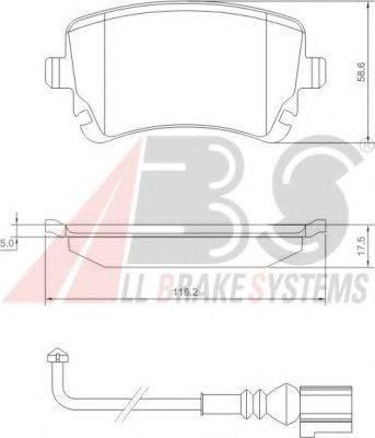 Гальмівні колодки дискові зад. (з датчиком) Audi A4, A6 2.0TDI-6.75V8R 08.99- VW Т5  ABS 37413