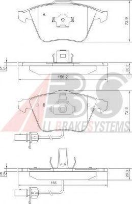 Колодка торм. AUDI A4/A6/A8 передн. (пр-во ABS)                                                      ABS 37428