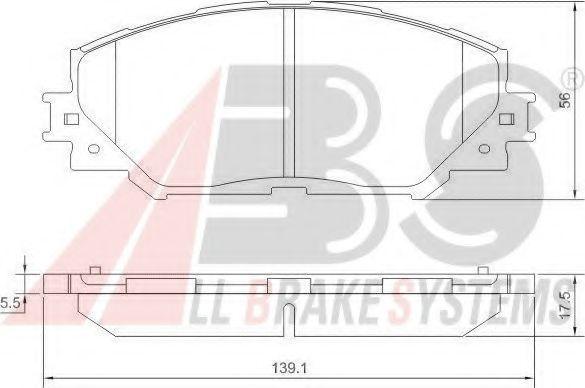 Гальмiвнi колодки дискові перед. Toyota Auris 1.4D-4D 03/07- ABS 37544