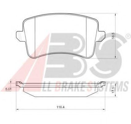 Гальмівні колодки дискові зад. Audi A4 (B8) Avant S4 08- (до вентильованих)  ABS 37588