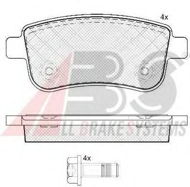 Колодка торм. диск. RENAULT GRAND SCENIC III 1.4-2.0 09-,MEGANE III 08- задн. (пр-во ABS)            ABS арт. 37732