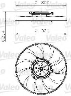 Вентилятор, охлаждение двигателя  арт. 696002