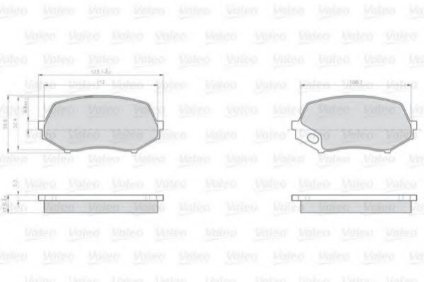 Комплект гальмівних колодок, дискове гальмо VALEO 872240