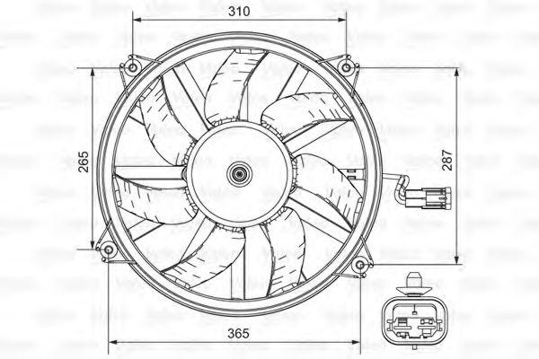 Вентилятор охлаждения радиатора с диффузором VALEO 696850