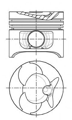 Поршень двигателя MB 89,00 OM601/602 2,3D/2,9D (пр-во NURAL)                                         NÜRAL 8774310010