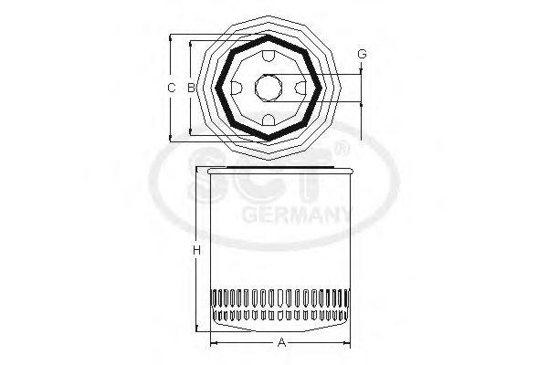 Фільтр масляний SCT SM102