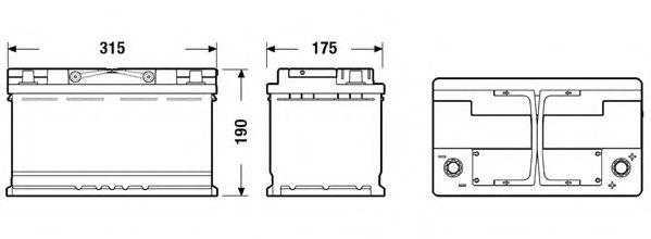 АКБ Exide 80А ч/800А AGM (R+ Стандартні клеми) 315x175x190 B13 - фланець 10.5мм (Пуск/AGM) в интернет магазине www.partlider.com
