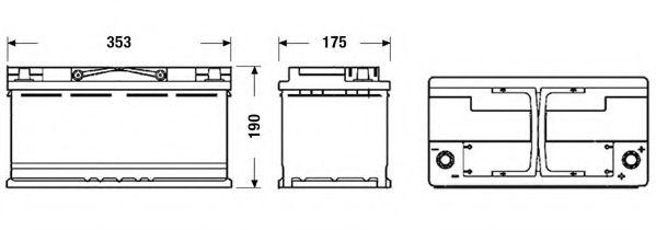 АКБ Exide 95А ч/850А AGM (R+ Стандартні клеми) 353x175x190 B13 - фланець 10.5мм (Пуск/AGM) в интернет магазине www.partlider.com