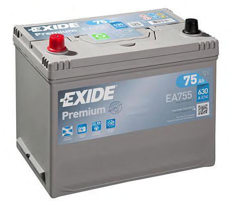 Аккумуляторная батарея 75h/630A (270x173x222) Premium (прямая полярность +L) Азия  арт. EA755