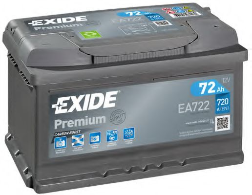 Аккумулятор   72Ah-12v Exide PREMIUM(278х175х175),R,EN720                                             арт. EA722