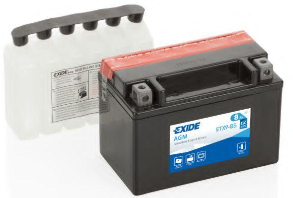 Аккумуляторы Аккумулятор    8Ah-12v Exide AGM (ETX9-BS) YTX9-BS ст.код (150х87х105) L, EN120                       арт. ETX9BS