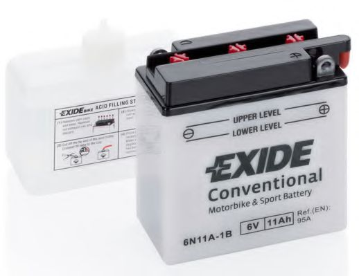 Аккумулятор   11Ah-6v Exide (6N11A-1B) (121х59х131) R, EN95 EXIDE 6N11A1B