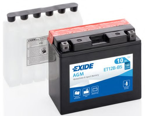 Аккумуляторы Аккумулятор   10Ah-12v Exide AGM (ET12B-BS) (150х70х130) L, EN160                                     арт. ET12BBS