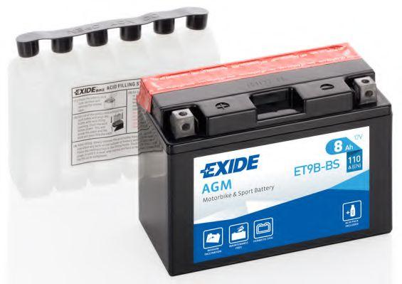 Аккумуляторы Аккумулятор    8Ah-12v Exide AGM (ET9B-BS) (150х70х105) L, EN110                                      арт. ET9BBS