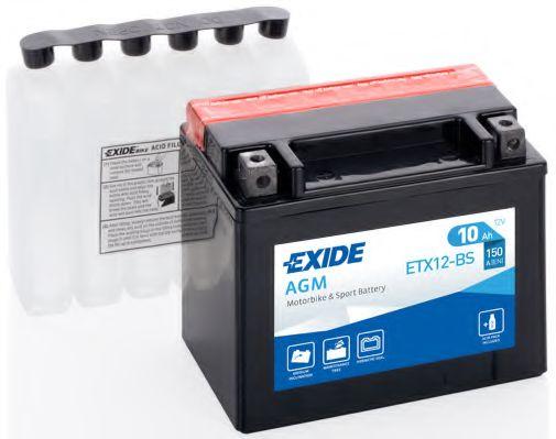 Аккумуляторы Аккумулятор   10Ah-12v Exide AGM (ETX12-BS) (150х87х130) L, EN150                                     арт. ETX12BS