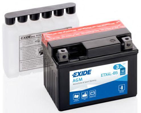 Аккумуляторы Аккумулятор    3Ah-12v Exide AGM (ETX4L-BS) (113х70х85) R, EN50                                       арт. ETX4LBS