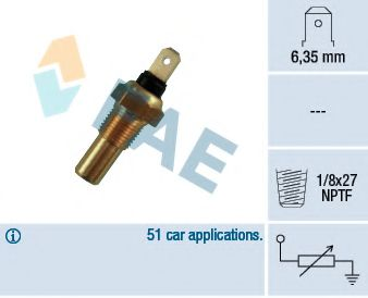 Температурный датчик охлаждающей жидкости  арт. 31390