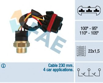 Датчик включения вентилятора Термовыключатель, вентилятор радиатора FAE арт. 38300