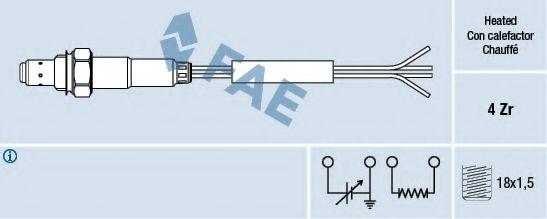 Лямбда-зонд универсальный 4 провода 4 Ом FAE 77008