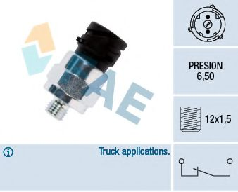 Датчик давления тормозной жидкости Кнопочный выключатель, тормозн. гидравлика, Манометрический выключатель FAE арт. 18105