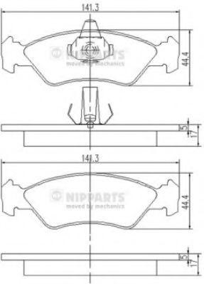 Комплект тормозных колодок, дисковый тормоз  арт. J3603049