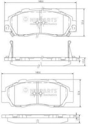 Колодки тормозные диск. Honda ACCORD V, VI, PRELUDE (пр-во Nipparts)                                  арт. J3604032