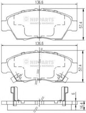 Колодки тормозные диск. Honda CIVIC;  (пр-во Nipparts)                                                арт. J3604033
