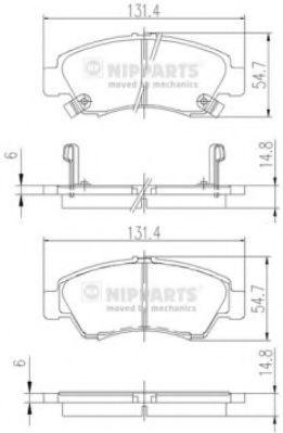 Колодки тормозные диск. Honda CIVIC V, VI; JAZZ (пр-во Nipparts)                                      арт. J3604034