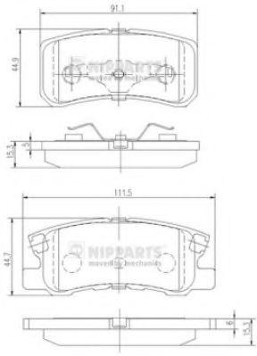 Тормозные колодки дисковые NIPPARTS J3615010