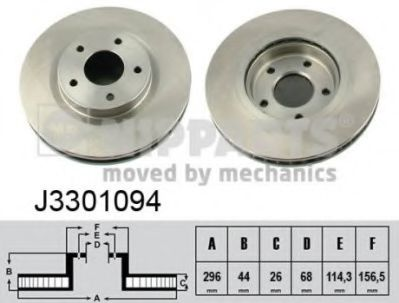 Диск тормозной Nissan QASHQAI 07-; JUKE 10-; X-TRAIL 07-; Renaul KOLEOS (пр-во Nipparts)             NIPPARTS J3301094
