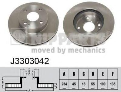 Диск тормозной Mazda 323; MX-5 (пр-во Nipparts)                                                      NIPPARTS J3303042