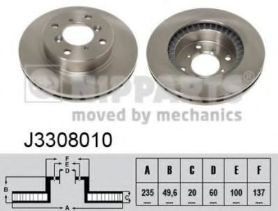 Тормозной диск NIPPARTS J3308010